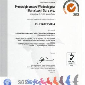 W Przedsiębiorstwie Wodociągów i Kanalizacji Spółka z o.o. odbył się audit recertyfikacyjny. Certyfikat ważny od 20 grudnia 2014r do 19 grudnia 2017r pozostaje ważny z zastrzeżeniem uzyskiwania pozytywnych wyników nadzoru.