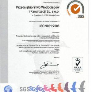 W Przedsiębiorstwie Wodociągów i Kanalizacji Spółka z o.o. od 20 grudnia 2011r funkcjonuje System zarządzania jakością