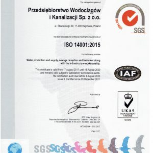 W dniach 02 sierpnia do 04 sierpnia 2017r  odbył się audit recertyfikacyjny na zgodność z ISO 14001:2015 Decyzją Jednostki recertyfikacyjnej SGS Polska Sp. z o.o. nasz system zarządzania został zarejestrowany jako spełniający wymagania norm ISO 14001:2015