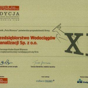 Do elitarnego grona najbardziej rozwijających się firm 2010 roku dołączyło Przedsiębiorstwo Wodociągów i Kanalizacji Sp. z o.o. w Hajnówce, osiągając 56 miejsce wśród firm w województwie podlaskim.