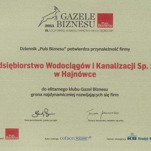 Przedsiębiorstwo Wodociągów i Kanalizacji Sp. z o.o. po raz drugi z rzędu otrzymało prestiżowy tytuł Gazele Biznesu. Sukces jest tym większy, iż mimo ponoszonych nakładów na inwestycje, PWiK Sp. z o.o. uplasowało się na 49 pozycji w województwie podlaskim